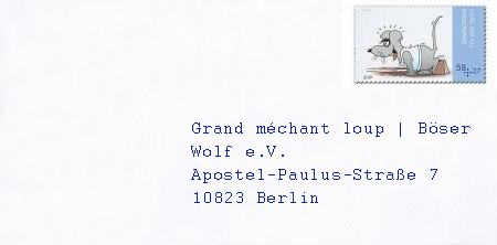 Un exemple d'enveloppe avec adresse en Allemagne.