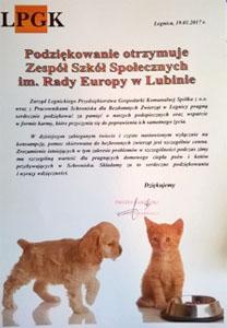 Diplôme en polonais pour l'action de dons pour le refuge
