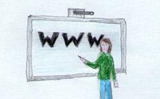 Jugendliche vor einem elektronischen Whiteboard