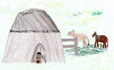 Hütte und Pferde