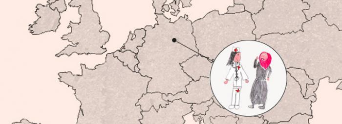 Europakarte mit einer Ärztin und einer Flüchtlingsfrau in Berlin