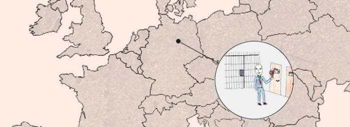 Europakarte mit einem Besucher im Gefängnis