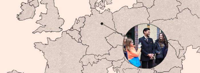 Europakarte mit Berlin. Dort wurde Steward Lenno von den Bösen Wölfen interviewt