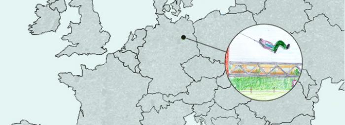 Europakarte mit Berlin im Zentrum. Hier Spielen im Park am Gleisdreieck
