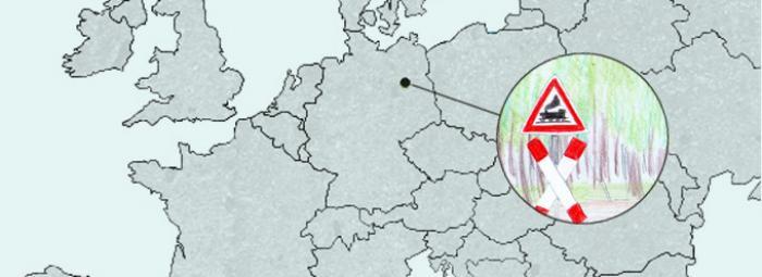 Carte de l'Europe avec Berlin. Panneau dans le parc du Gleisdreieck à Berlin