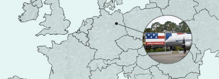 Carte de l'Europe avec le Musée des Alliés à Berlin