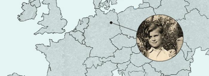 Carte de l'Europe avec Berlin au centre. Horst, 8 ans, habitait dans le secteur britannique