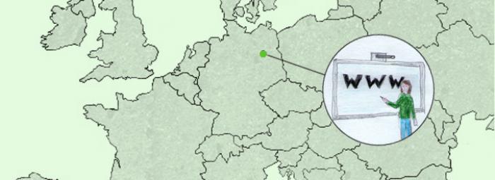 Carte de l'Europe avec Berlin. Au centre, ado devant un tableau blanc électronique