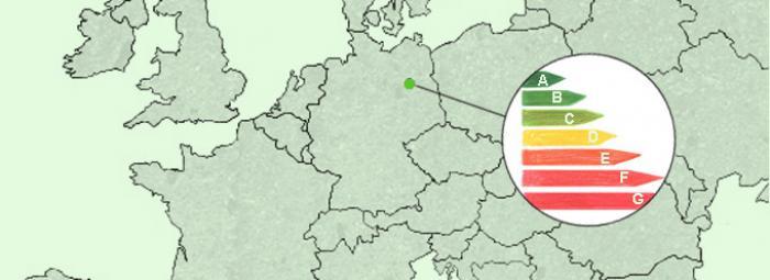Europakarte mit Berlin und mit Aufkleber über Energieverbrauch