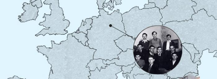 Carte de l'Europe avec une photo de classe de 1942 du Lycée Français de Berlin