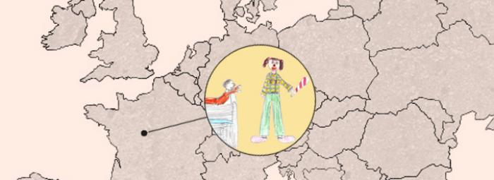 Europakarte mit Tours in Frankreich. Clown im Krankenhaus