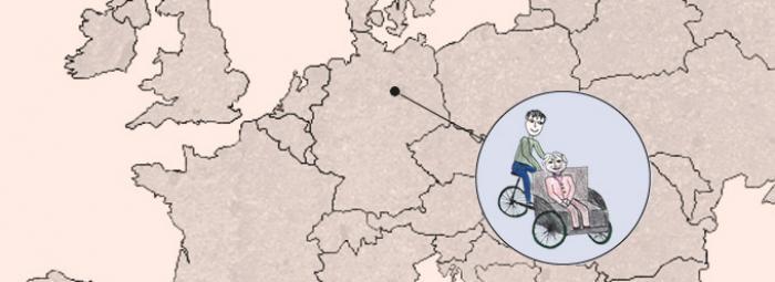 Europakarte mit Fahrradrikscha in Berlin
