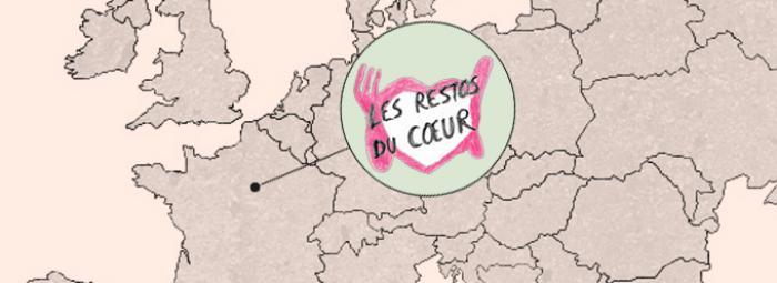 Europakarte mit Logo der Restos du coeur in Frankreich