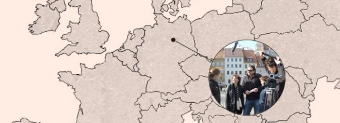 Berlin zaznaczony na mapie Europy