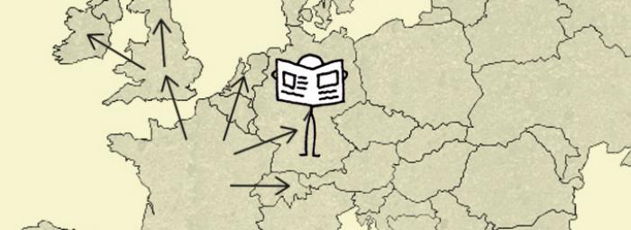 Carte de l'Europe avec à Berlin quelqu'un lisant le journal
