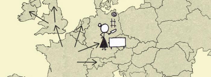 Carte de l'Europe avec une femme faisant sauter des crêpes