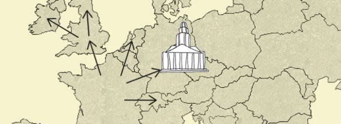 Europakarte mit dem von den Hugenotten gebauten Französischen Dom