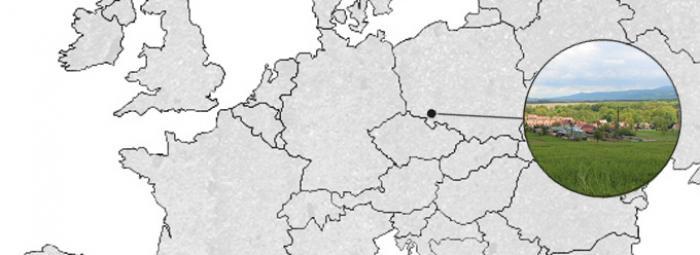 Carte de l'Europe avec Krzyżowa, dans le sud de la Pologne