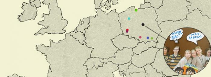 Europakarte mit den Orten der Wettbewerbsbeiträge in Polen