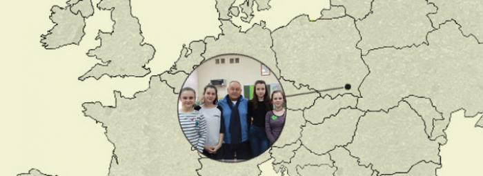 Europakarte mit Odrzykon im Südosten Polens