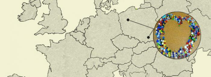 Carte de l'Europe avec Pila au nord-ouest et Zakliczyn au sud-est de la Pologne