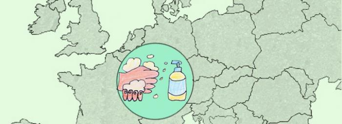 Carte de l'Europe avec quelqu'un se lavant les mains