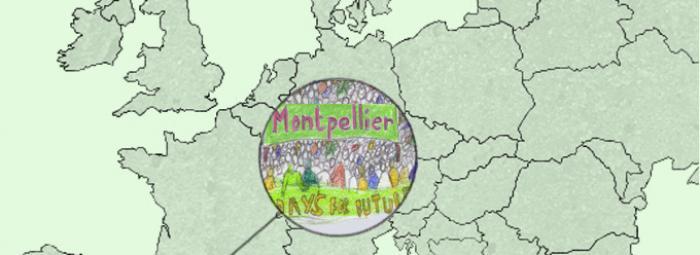 Carte de l'Europe avec dans le sud, Montpellier