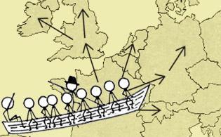 Carte de l'Europe avec les destinations des huguenots