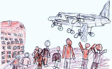 Rysunek lądującego samolotu