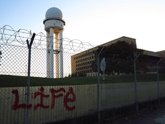 Former airport control tower on the Tempelhofer Feld